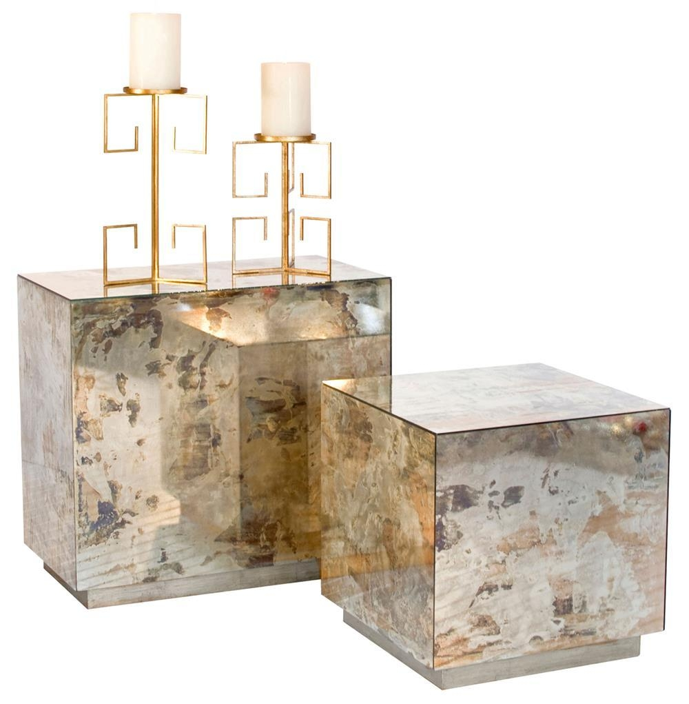 Fedro Hollywood Regency Silver Antique Mirror Cube Side Table In Silver Antique Mirror (Image 11 of 20)