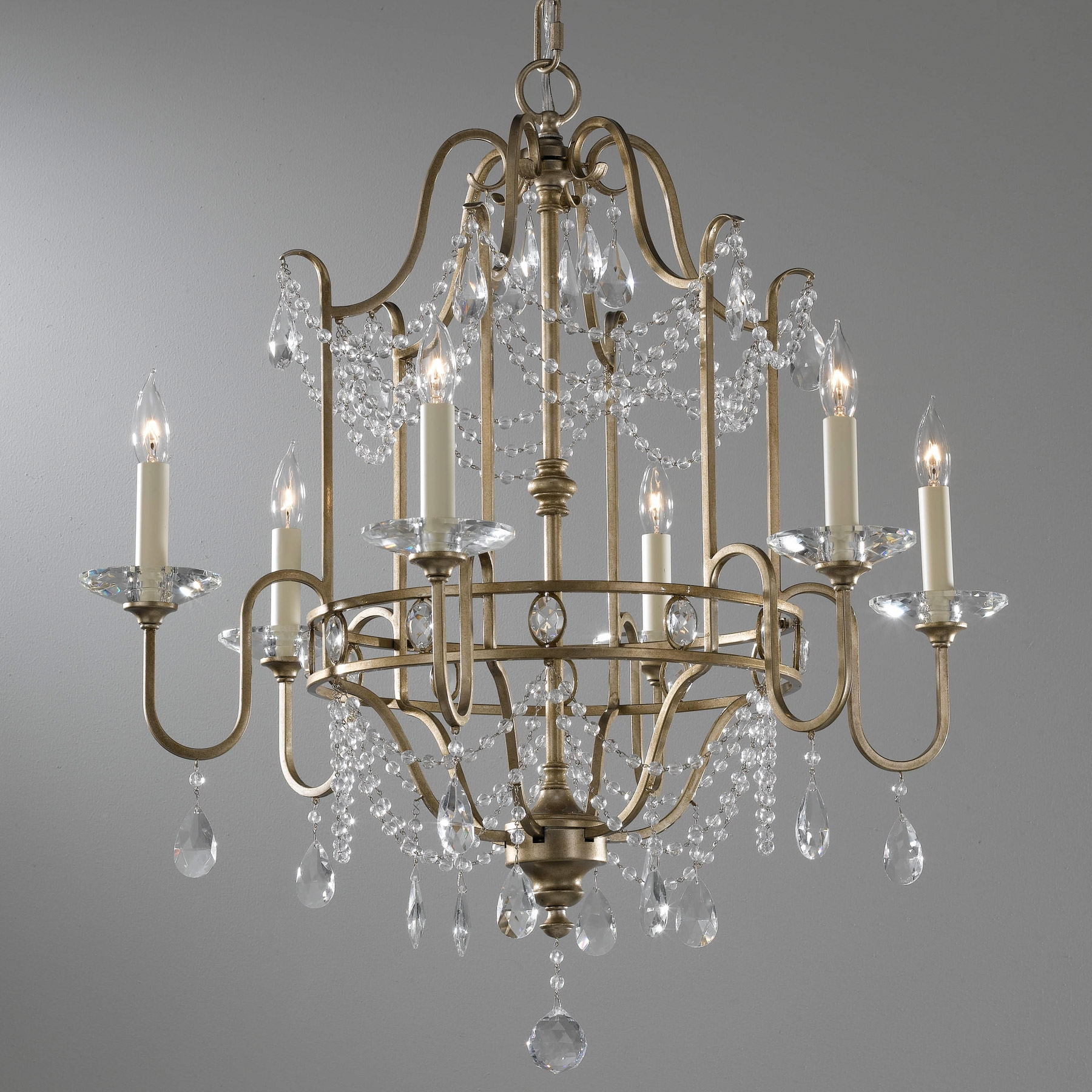 Feiss F24756gs Crystal Gianna Six Light Chandelier For Gianna Mini Chandeliers (Image 3 of 25)