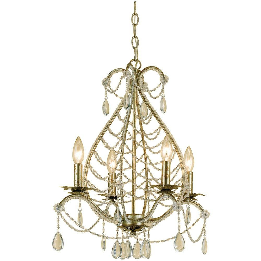 Feiss Gianna 4 Light Gilded Silver Mini Chandelier F24764gs The In Gianna Mini Chandeliers (Image 7 of 25)