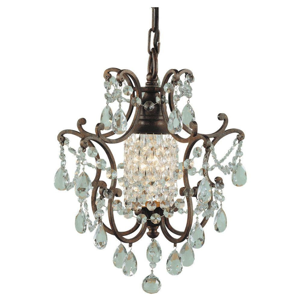 Feiss Maison De Ville 1 Light British Bronze Mini Chandelier F1879 Regarding Mini Crystal Chandeliers (Image 12 of 25)