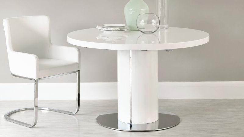Fern White Gloss Extending Dining Table | Danetti Uk Within Extending White Gloss Dining Tables (View 9 of 20)