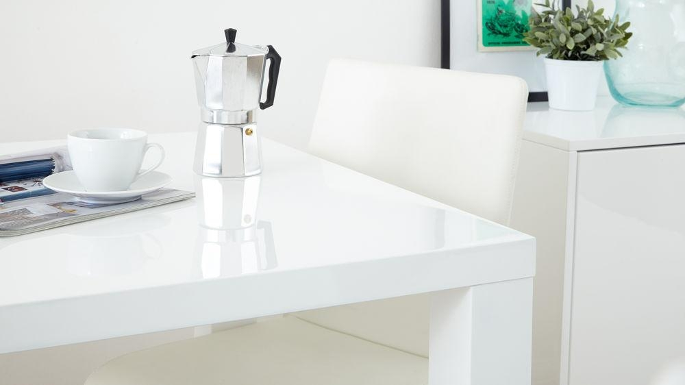 Fern White Gloss Extending Dining Table | Danetti Uk Within Extending White  Gloss Dining Tables (