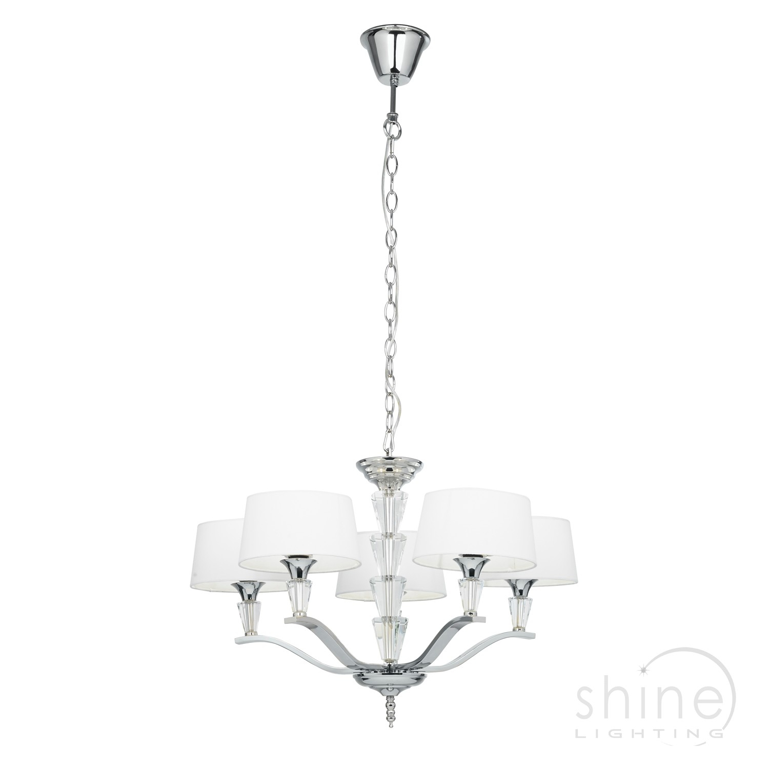 Fiennes 5ni 5 Light Chandelier In Polished Nickel Endon Lighting Inside Endon Lighting Chandeliers (Image 20 of 25)
