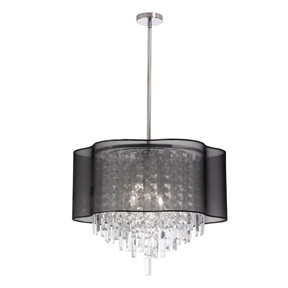 Filament Design Leon 6 Light Polished Chrome Chandelier With Black In Chandeliers With Black Shades (Image 13 of 25)