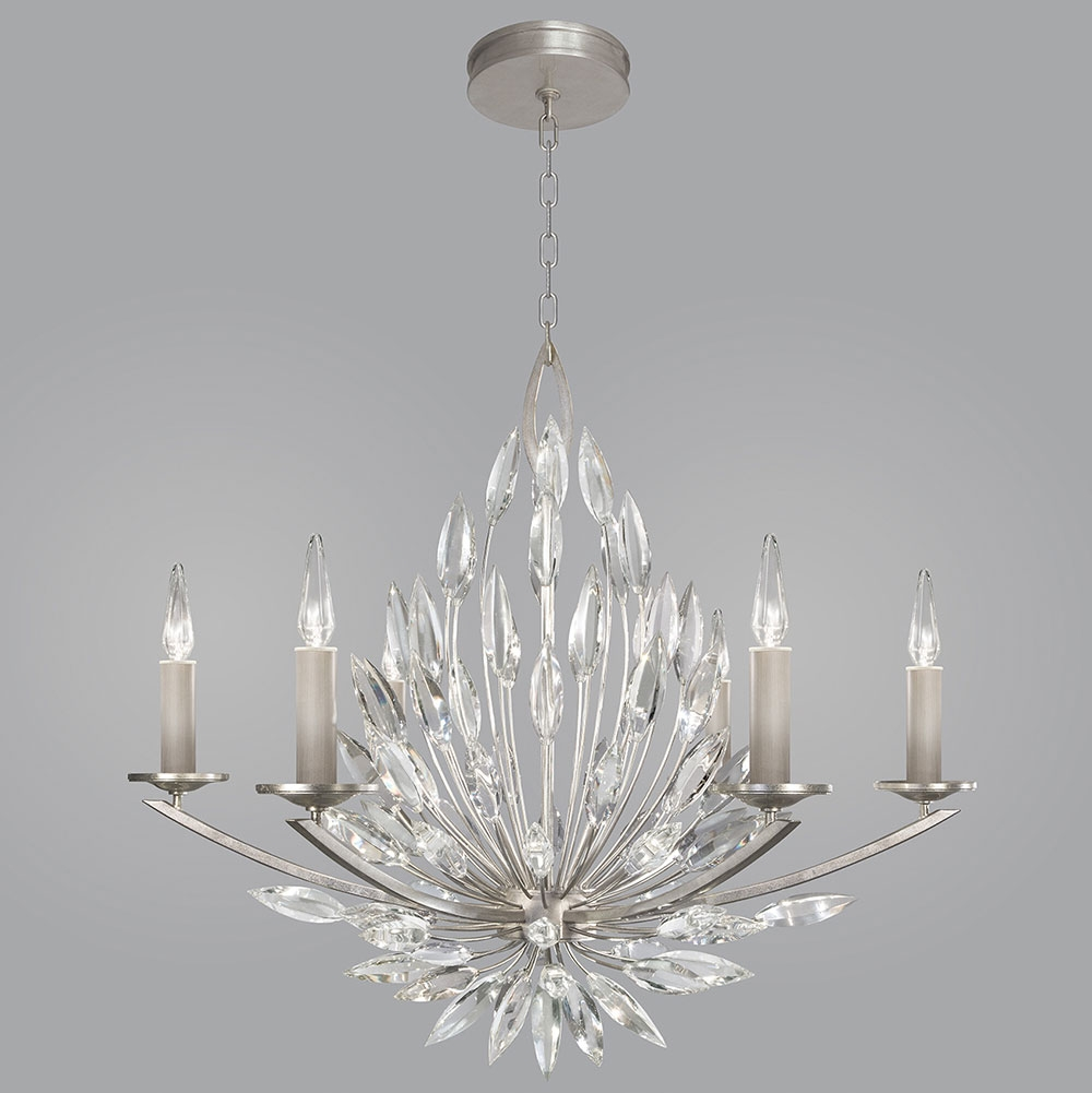 Fine Art Lamps 881140st Lily Buds Silver Leaf Ceiling Chandelier Intended For Lily Chandeliers (Image 15 of 25)