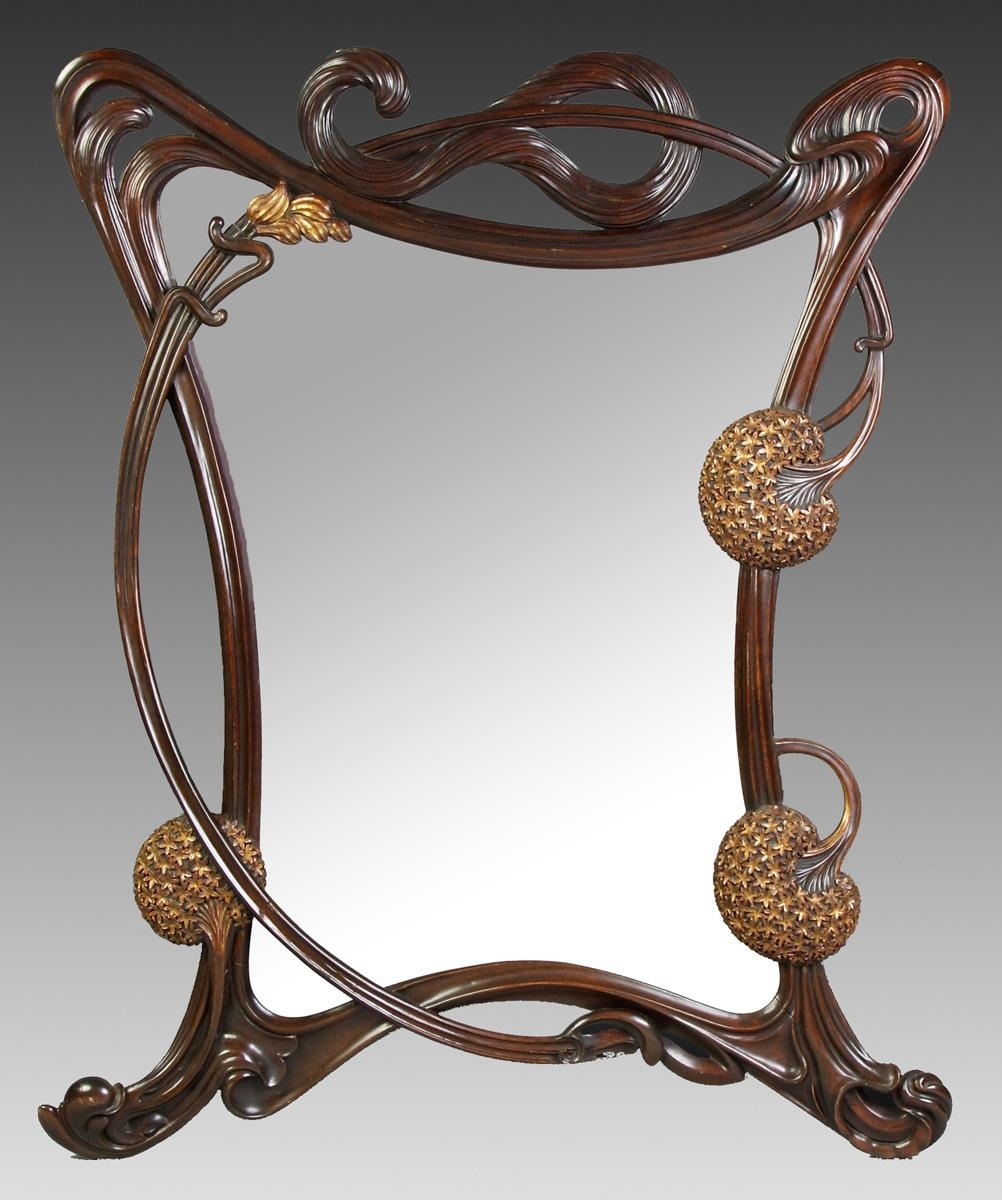 Fine Art Nouveau Carved Mahogany & Gilded Wall Mirror | Cottone In Art Nouveau Wall Mirror (Image 15 of 20)
