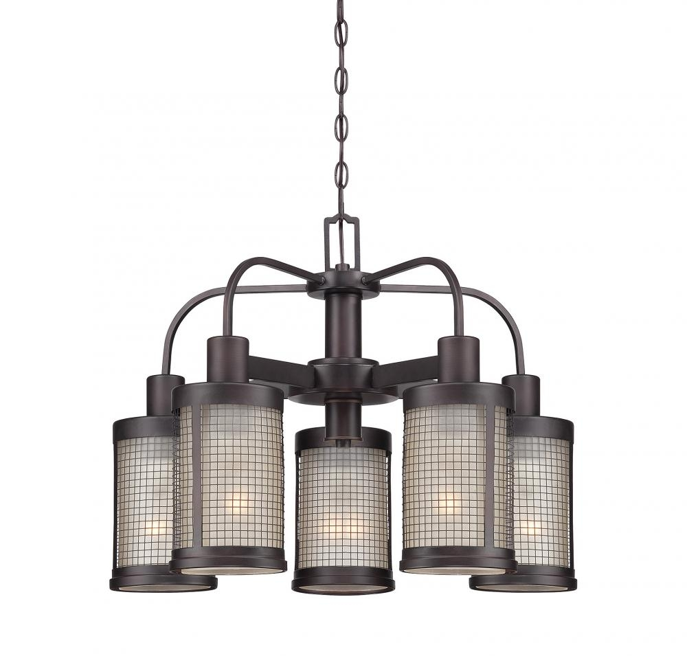 Five Light English Bronze Shade Metal Mesh Drum Shade Chandelier Intended For Metal Drum Chandeliers (Image 13 of 25)