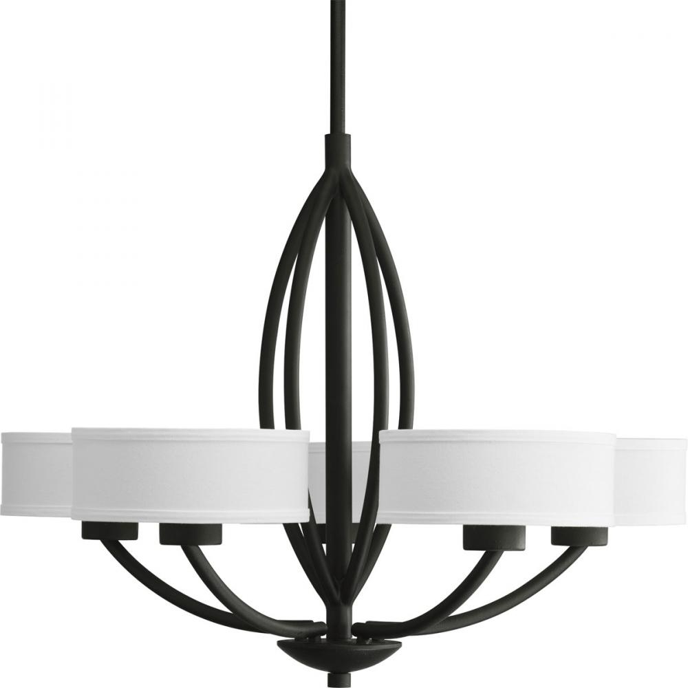 Five Light Forged Black Beige Linen Shade Glass Drum Shade Pertaining To Linen Chandeliers (Image 15 of 25)