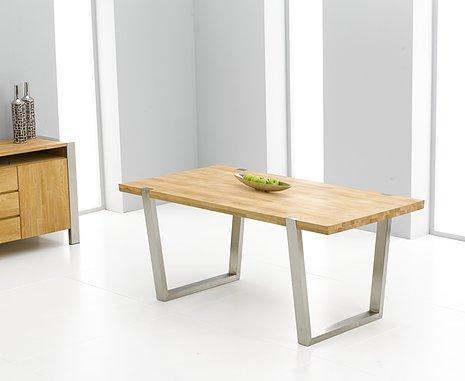 Flavia Oak & Brushed Steel Dining Table | Oak Furniture Solutions In Brushed Steel Dining Tables (View 16 of 20)
