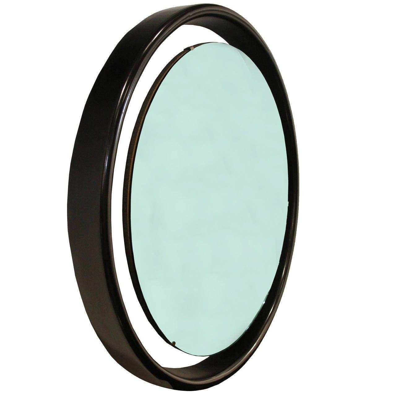 Floating Round Mirror With Black Frame For Sale At 1Stdibs With Regard To Round Black Mirror (View 15 of 20)