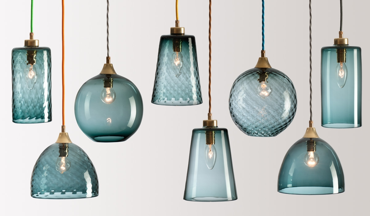 Flodeau Handblown Glass Lighting Rothschild Bickers 02 Regarding Turquoise Blue Glass Chandeliers (Image 13 of 25)