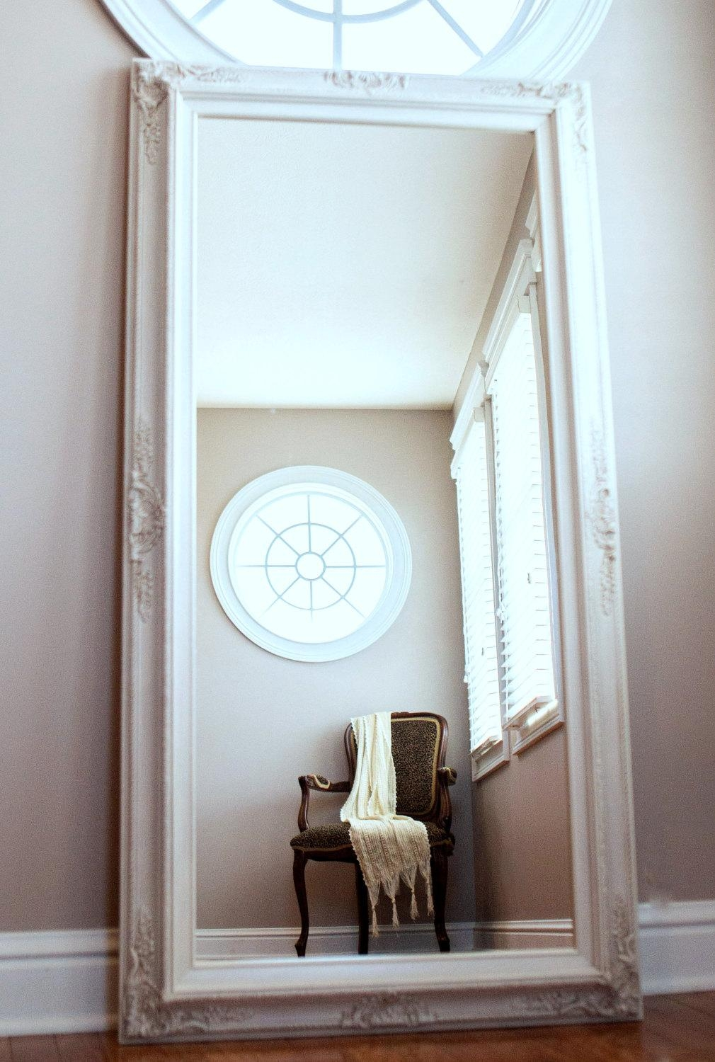 Flooring : Literarywondrous White Floorrror Image Inspirations With Regard To Distressed Framed Mirror (Image 11 of 20)