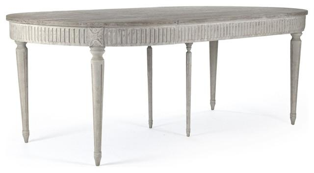 Floren French Country White Wash Oak Extendable Breakfast Oval Within French Extending Dining Tables (View 7 of 20)