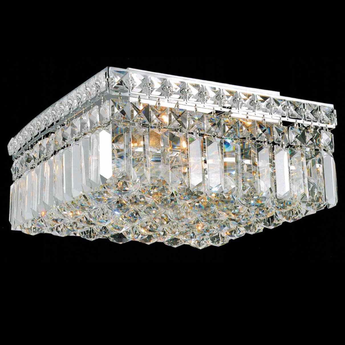 Flush Mount Crystal Chandelier Lighting Throughout 4 Light Chrome Crystal Chandeliers (Image 7 of 25)