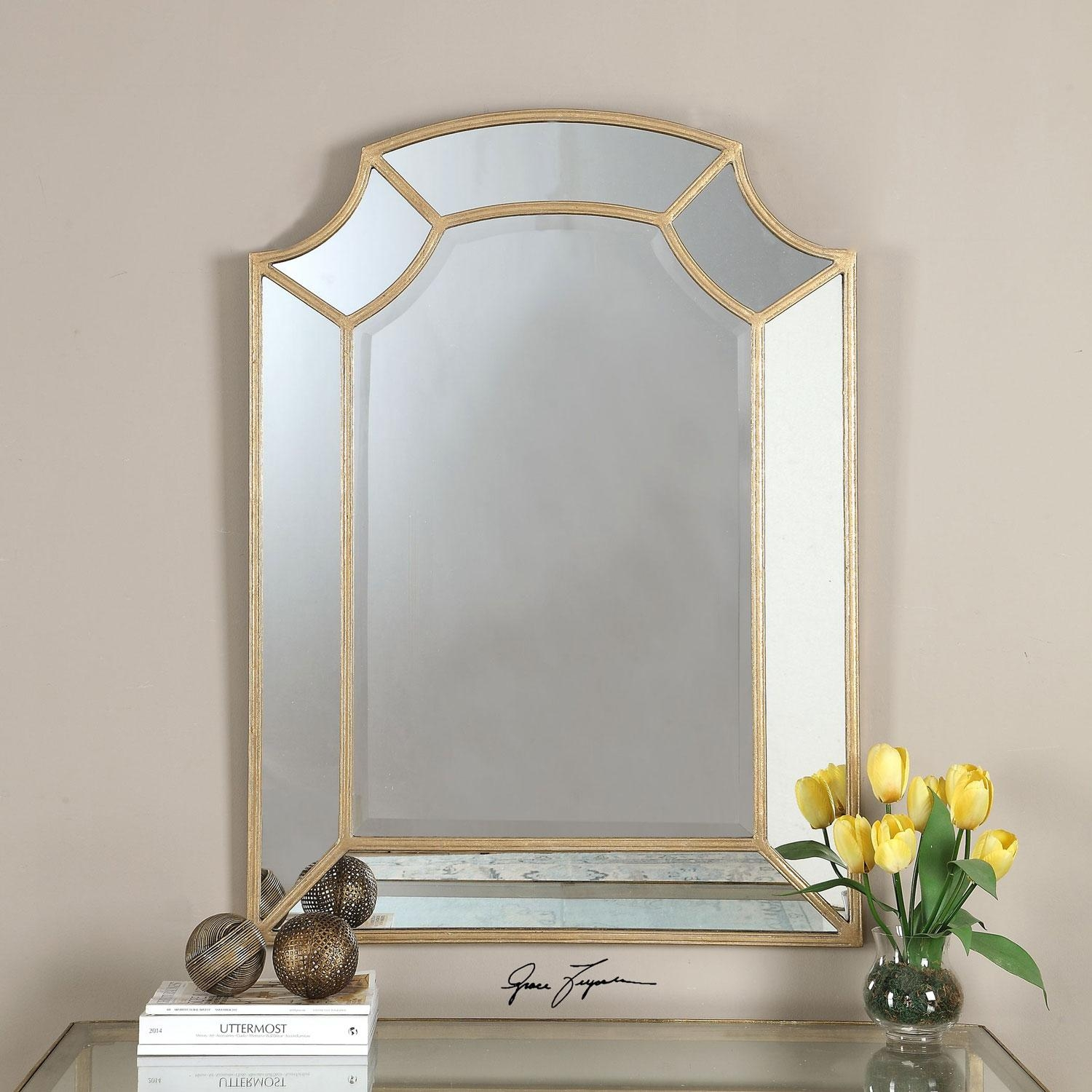 Francoli Gold Arch Mirror Uttermost Wall Mirror Mirrors Home Decor For Gold Arch Mirror (Image 3 of 20)