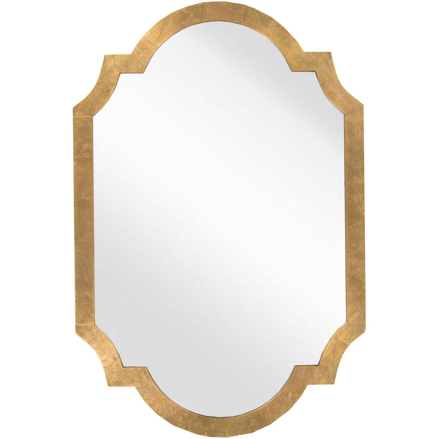 Franklin Aged Gold Decorative Arched And Crowned Mirror Surya Wall Inside Gold Wall Mirrors (Image 6 of 20)