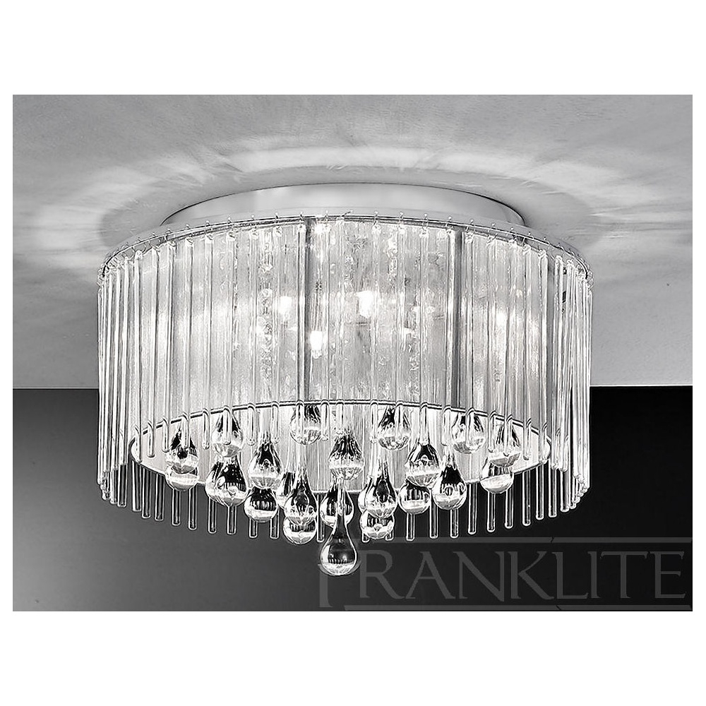 Franklite Fl21606 Spirit Crystal Drop Flush Ceiling Light For Flush Chandelier Ceiling Lights (Image 21 of 25)
