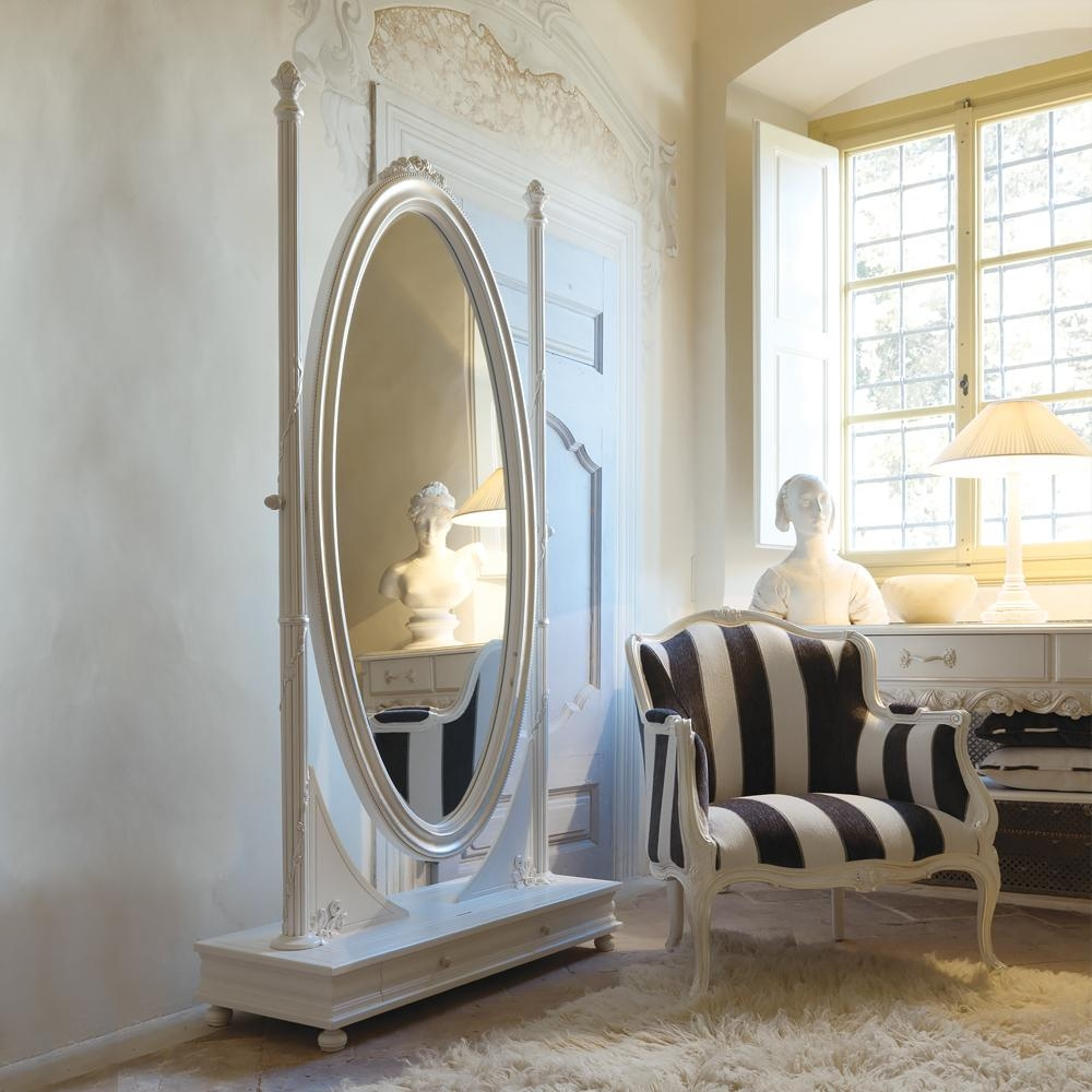 Freestanding Italian Oval Antique White Dressing Mirror Pertaining To Dressing Mirrors Free Standing (Image 13 of 20)