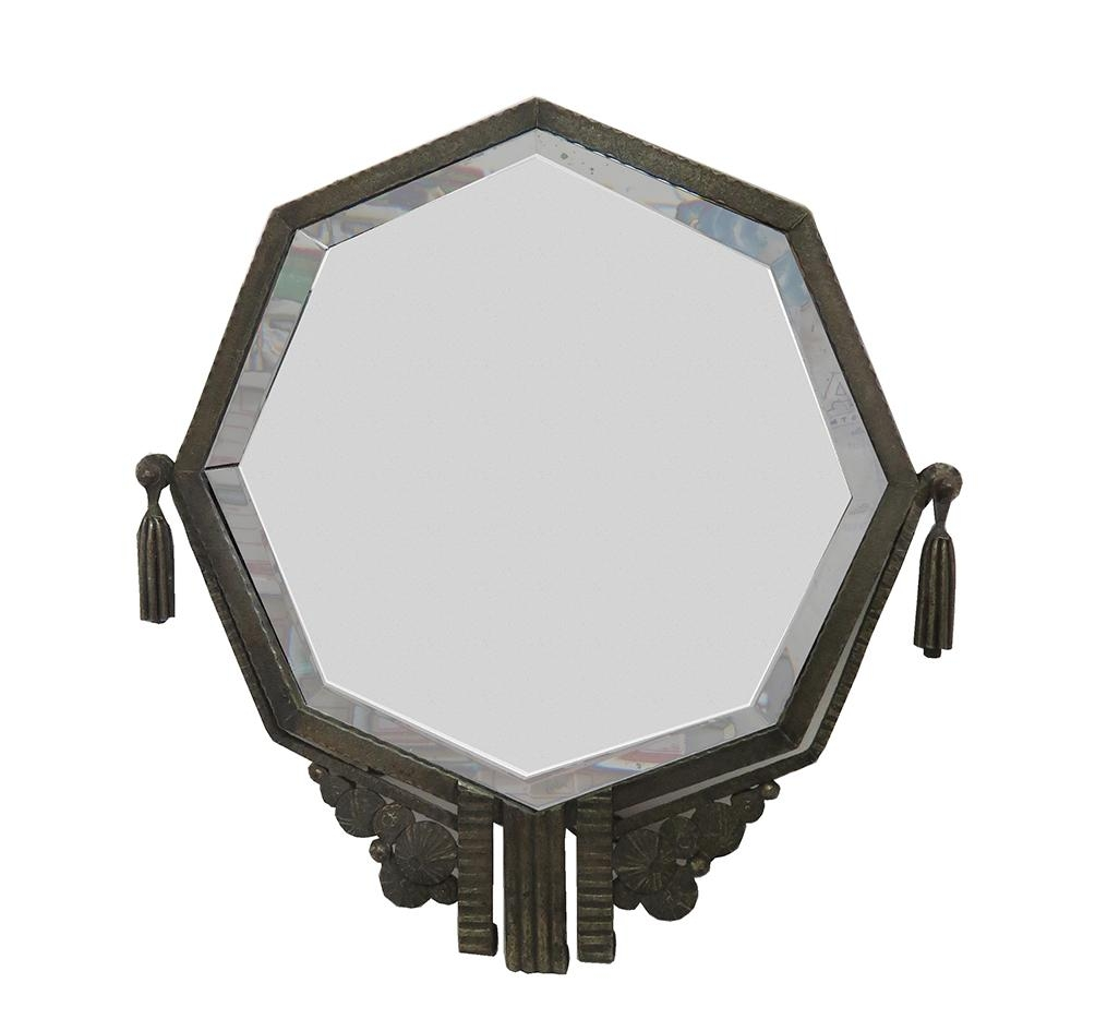 French Art Deco Octagonal Wrought Iron Mirror Style Brandt | Modernism Throughout Black Wrought Iron Mirrors (Image 9 of 20)