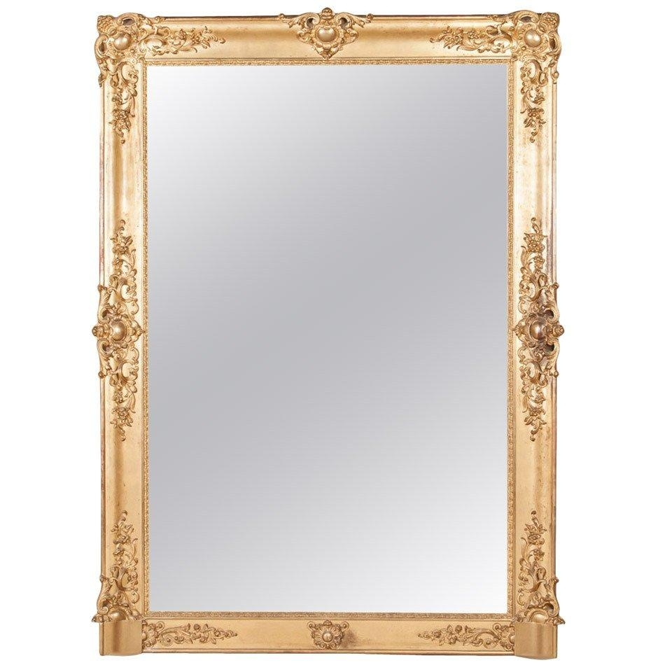 "French Baroque Grand Scale Gold Leaf Mirror (72""h X 52""w) At 1Stdibs Inside Baroque Mirror Gold (Image 16 of 20)"