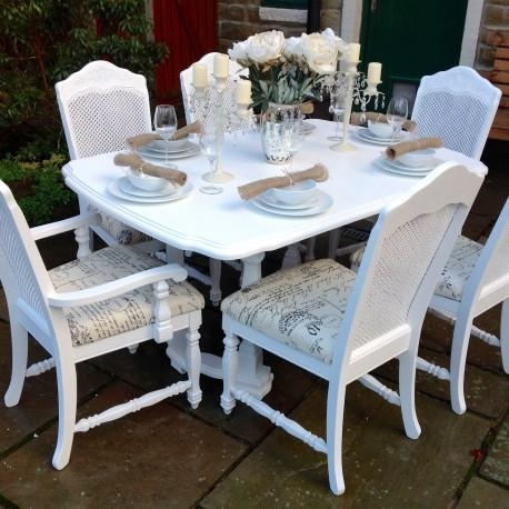 French Chic Extending Dining Table & 6 Bergere Chairs | Shabby Inside Shabby Chic Extendable Dining Tables (Image 7 of 20)