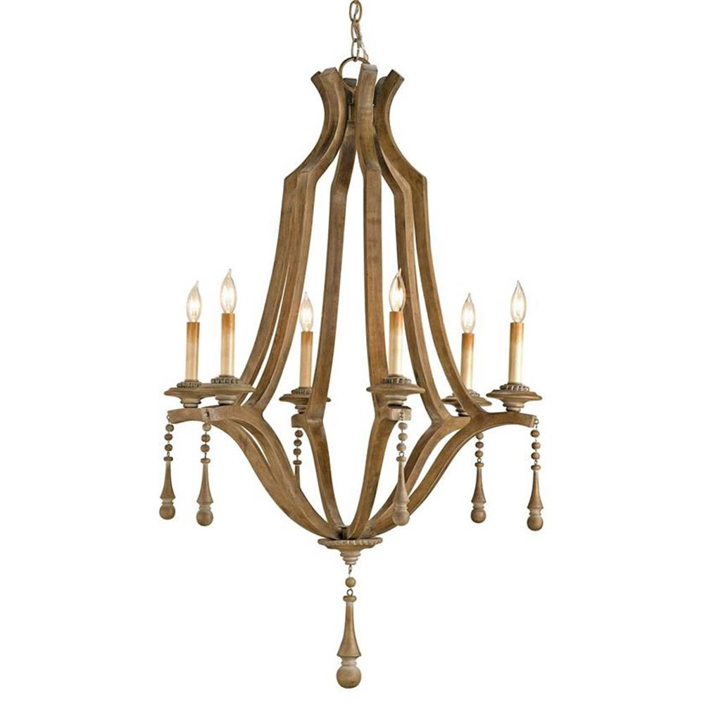 French Country Washed Bent Wood 6 Light Chandelier Kathy Kuo Home Pertaining To French Country Chandeliers (Photo 25 of 25)