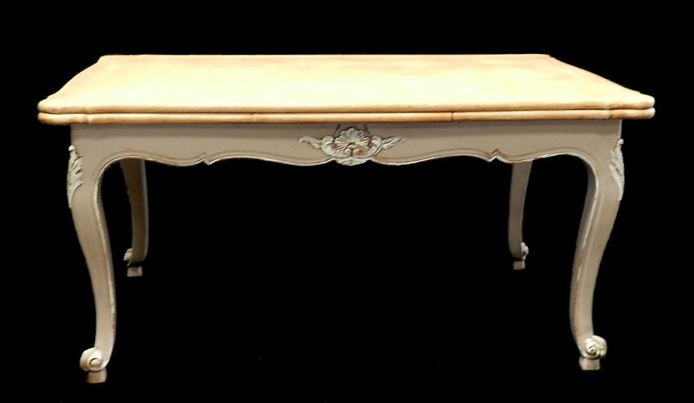 French Extending Dining Table Oak Early Vintage Louis Painted Regarding French Extending Dining Tables (Image 12 of 20)