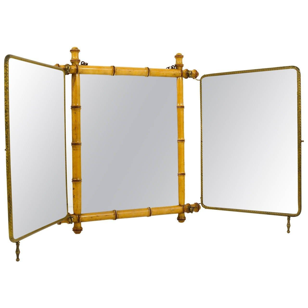 French Faux Bamboo And Brass Triple Vanity Table Mirror Or Wall In Triple Wall Mirror (Image 6 of 20)