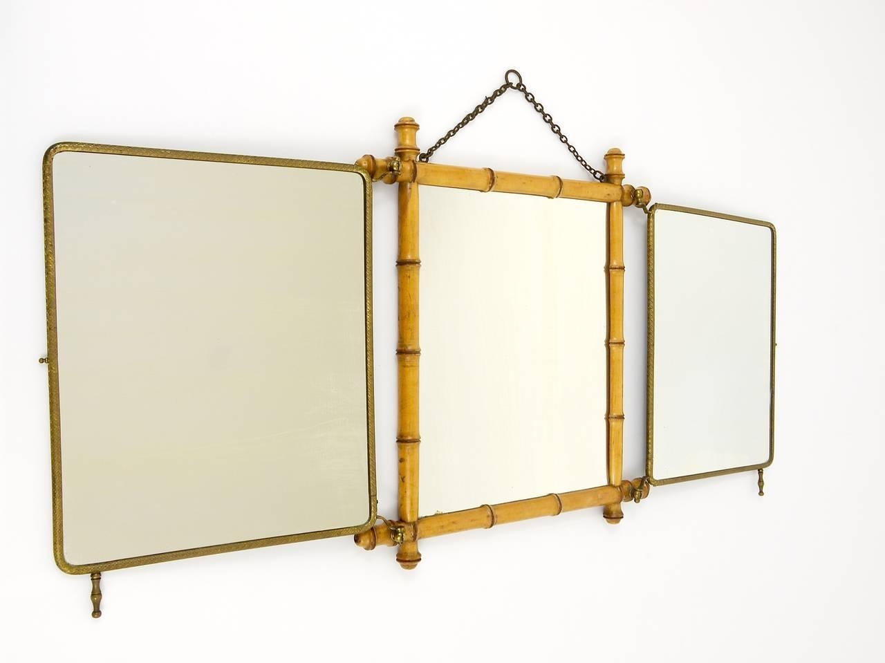 French Faux Bamboo And Brass Triple Vanity Table Mirror Or Wall Inside Triple Wall Mirror (Image 7 of 20)