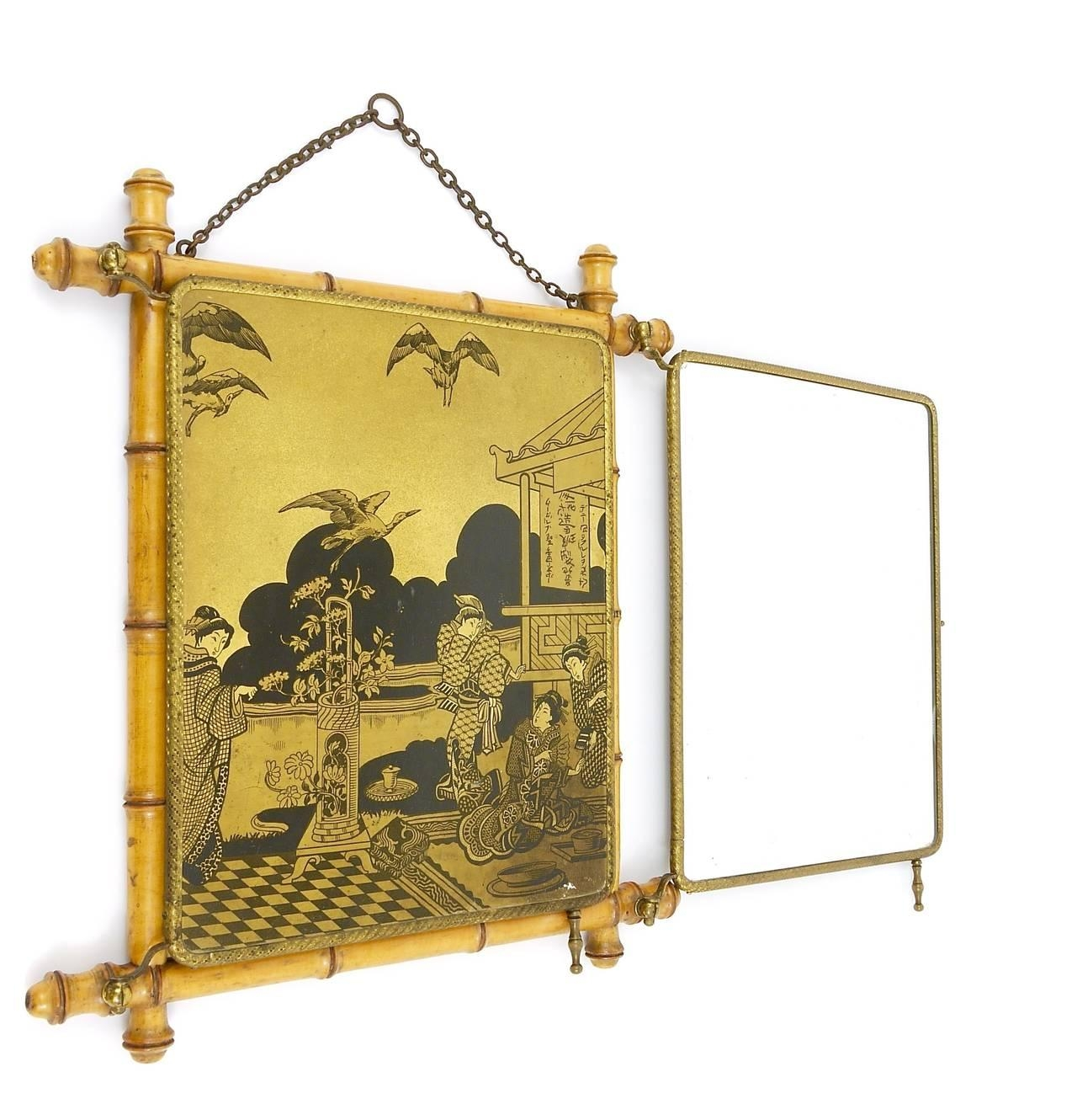 French Faux Bamboo And Brass Triple Vanity Table Mirror Or Wall With Triple Wall Mirror (Image 8 of 20)