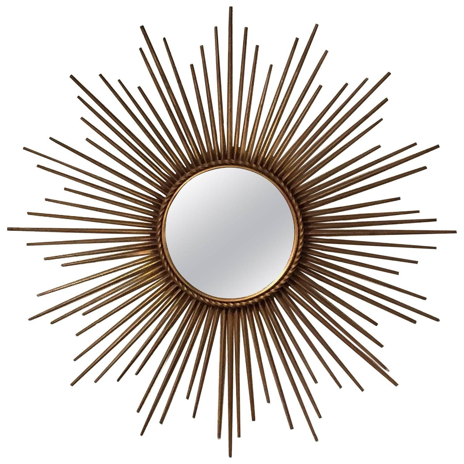 French Gilt Sunburst Or Starburst Mirrorchaty Vallauris At 1Stdibs Within Starburst Convex Mirror (Image 6 of 20)
