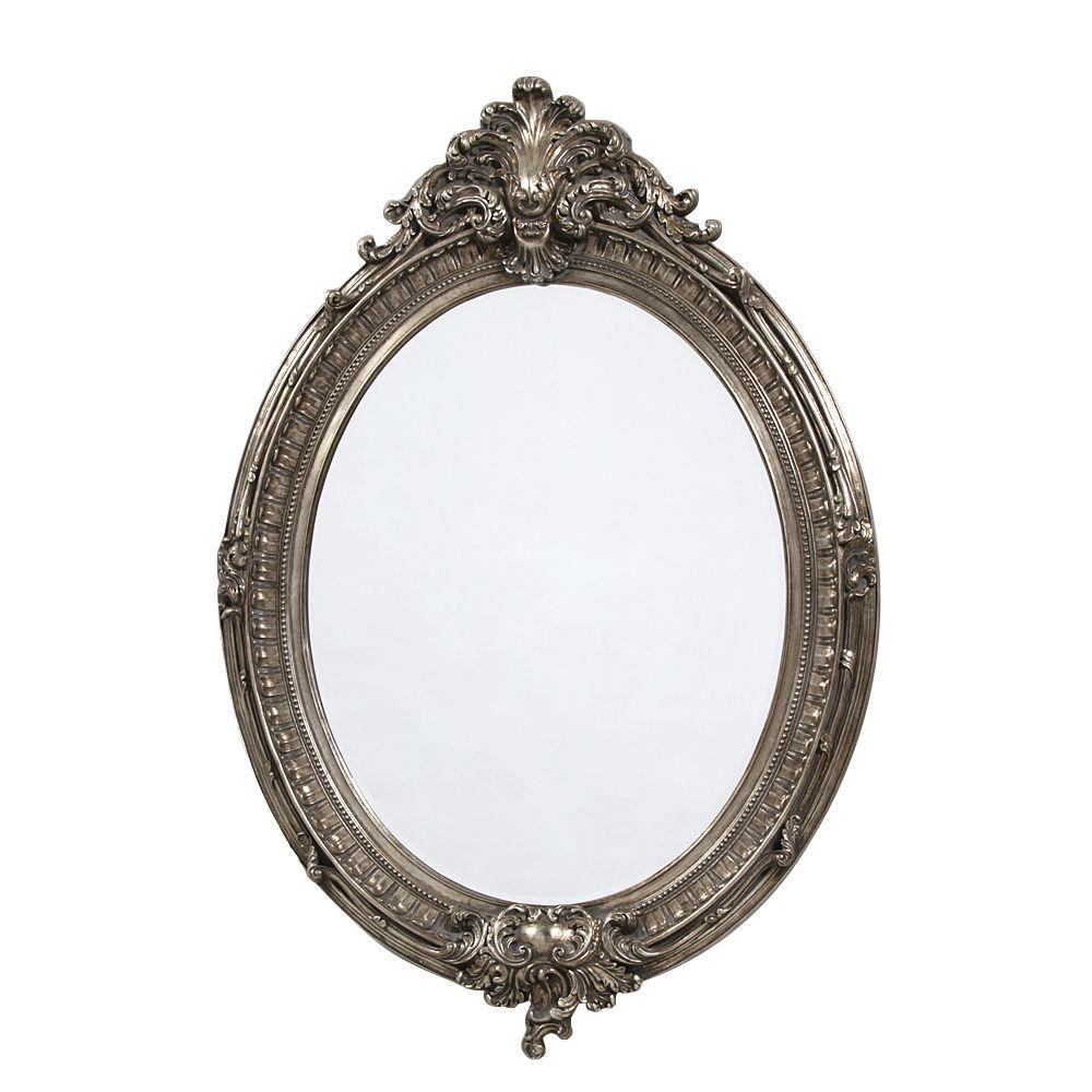 French Large Silver Oval Mirror Throughout Oval Silver Mirror (Image 7 of 20)