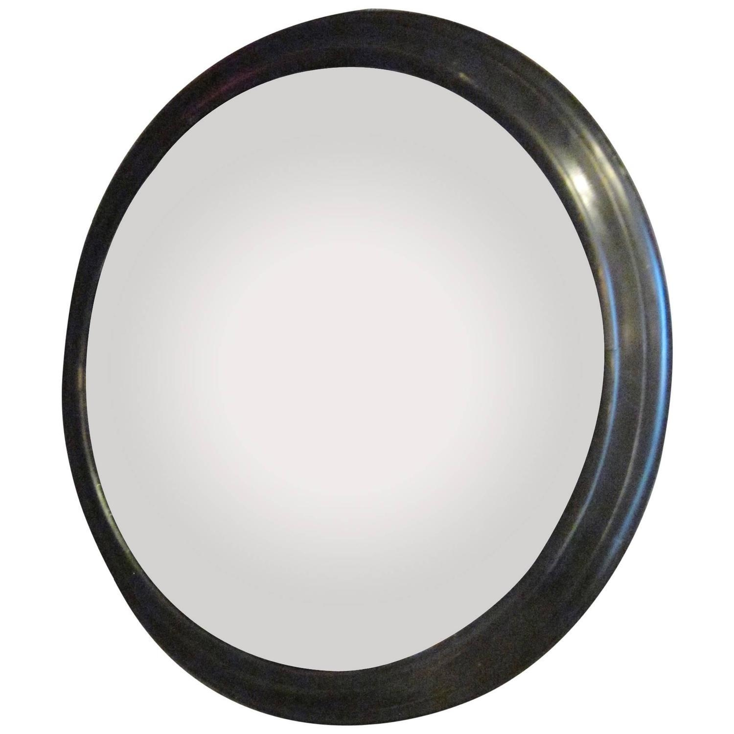 French Napoleon Iii Extra Large Round Convex Mirror In Black Frame Throughout Large Round Convex Mirror (Image 7 of 20)