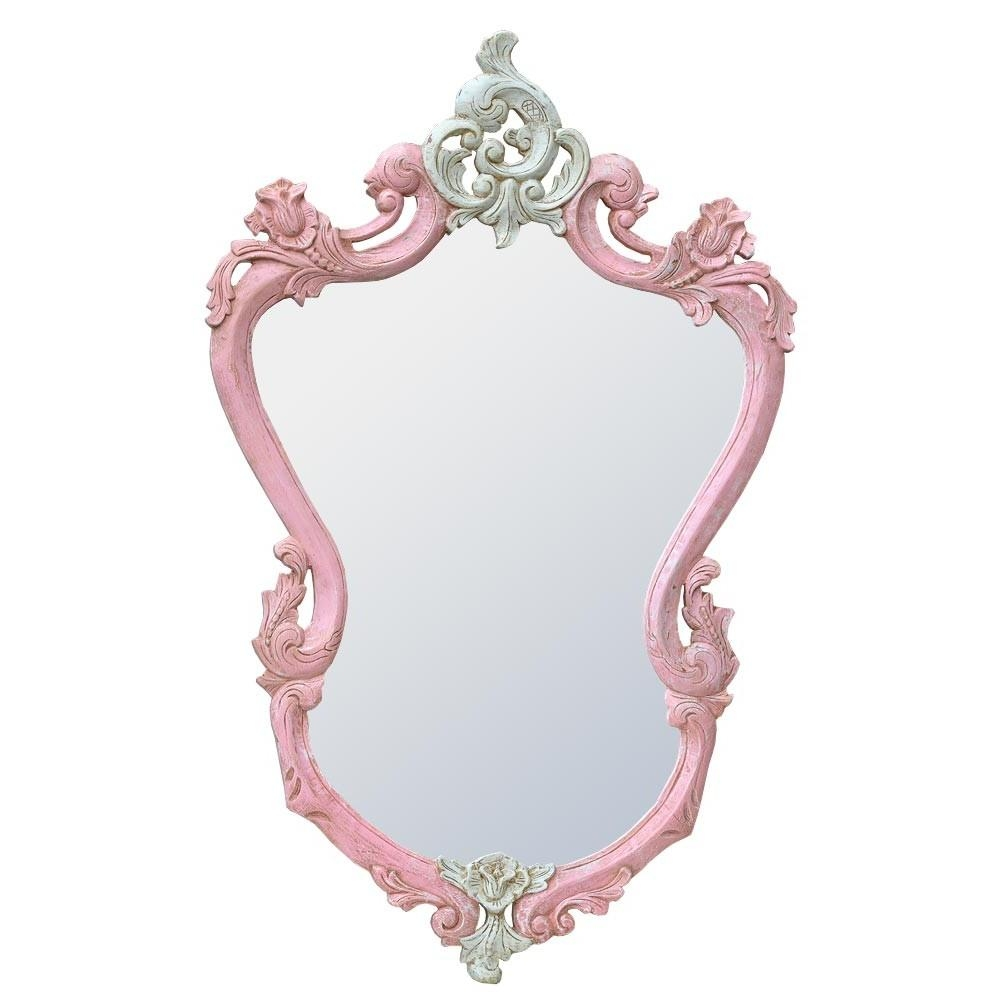 French Rococo Isabella Pink & White Hand Carved Wood Decorative Throughout White Rococo Mirror (Image 8 of 20)