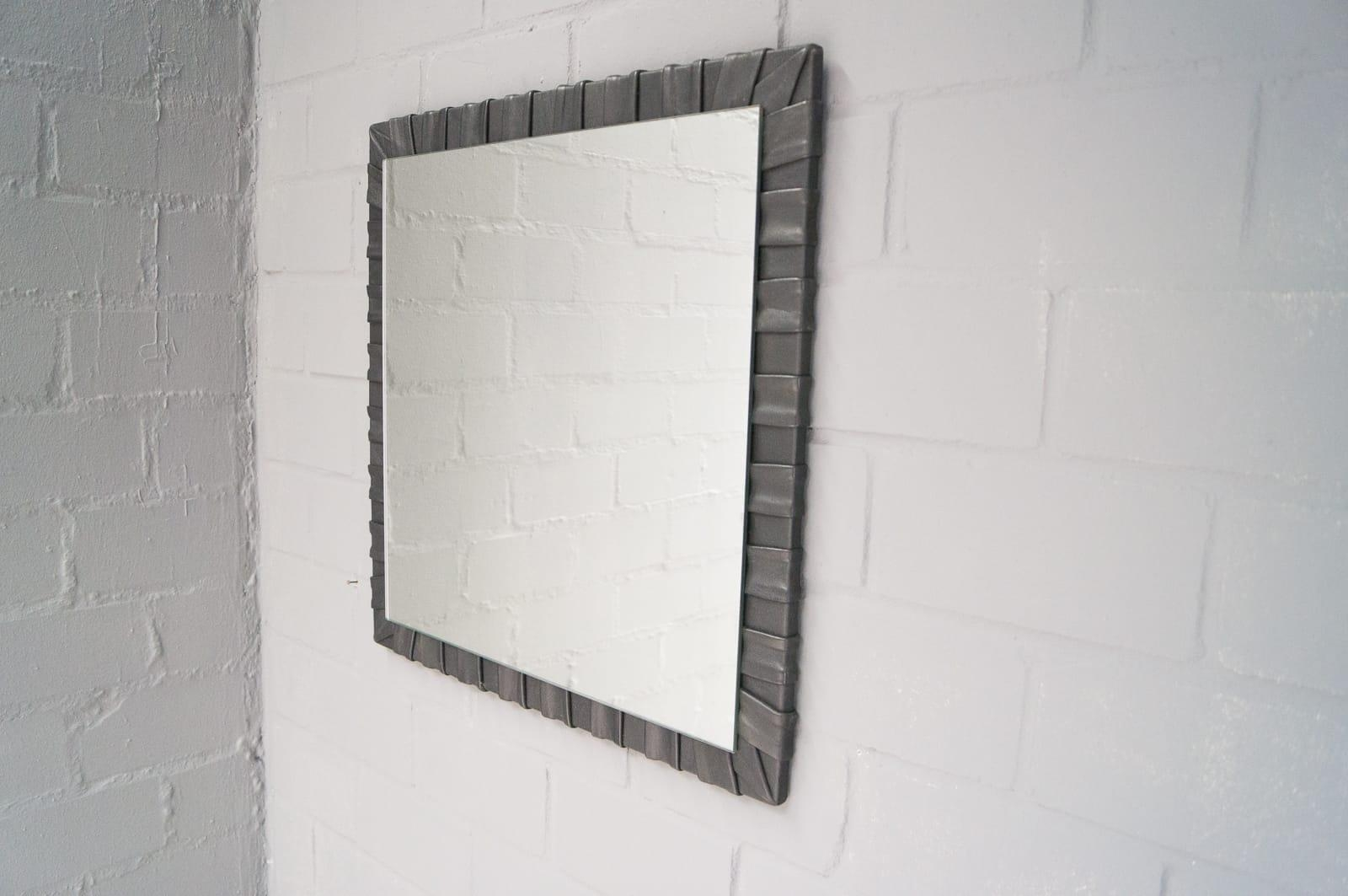 French Square Leather Wall Mirror, 1960S For Sale At Pamono Pertaining To French Wall Mirror (Image 9 of 20)
