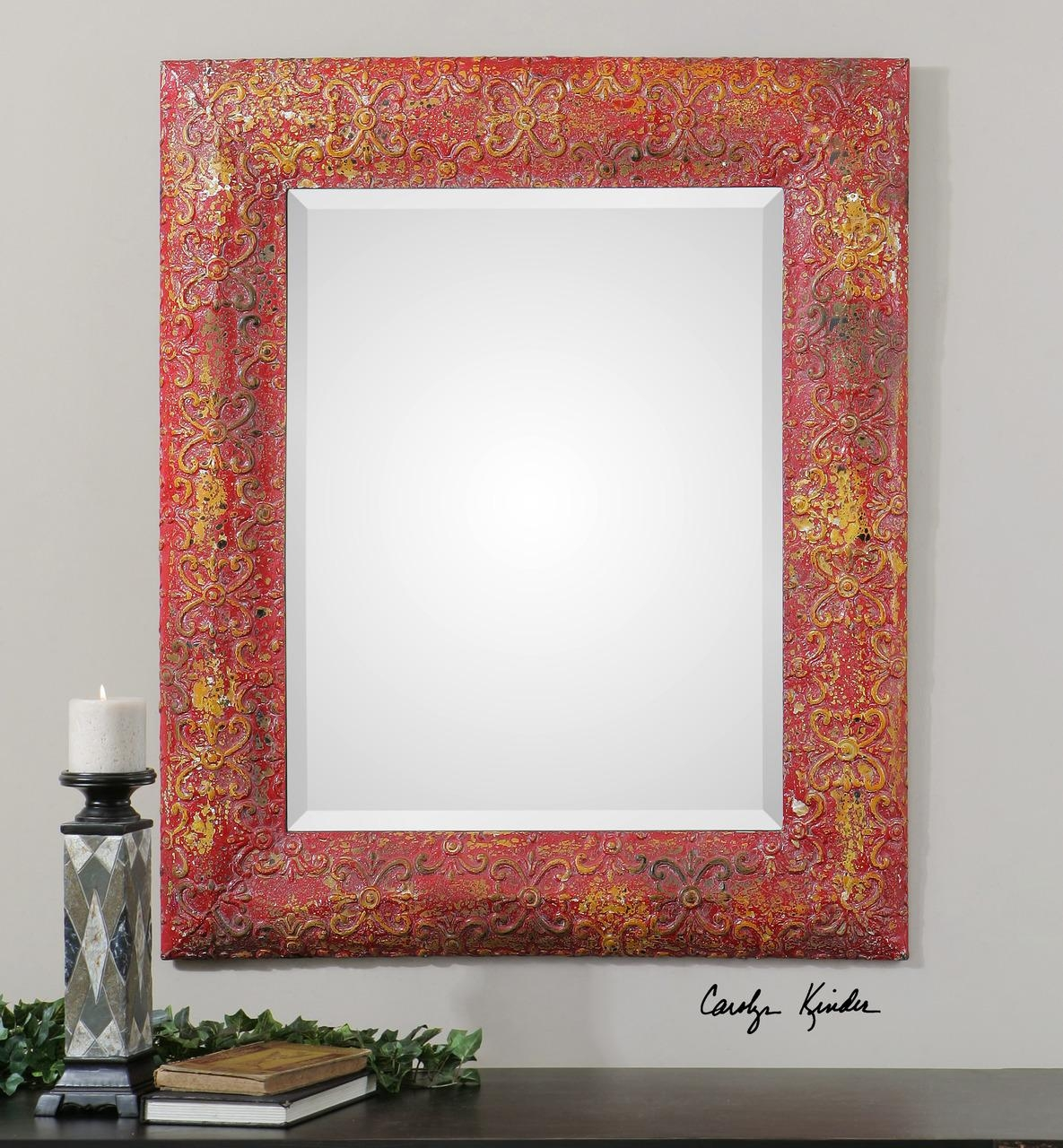 French Style Antiqued Red Distressed Frame Wall Mirror | What's It Pertaining To French Style Wall Mirror (Image 8 of 20)