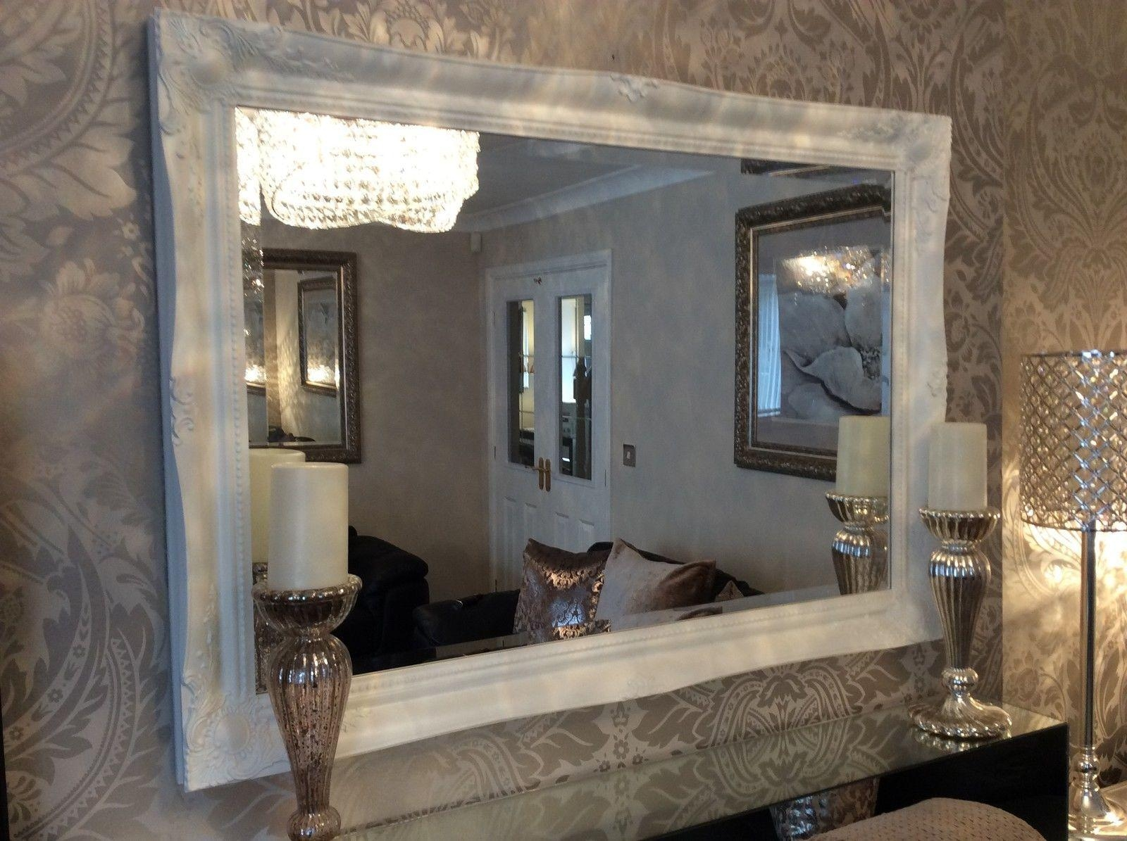 French White Shabby Chic Ornate Decorative Over Mantle Wall Mirror Intended For Shabby Chic Mirror White (Image 7 of 20)
