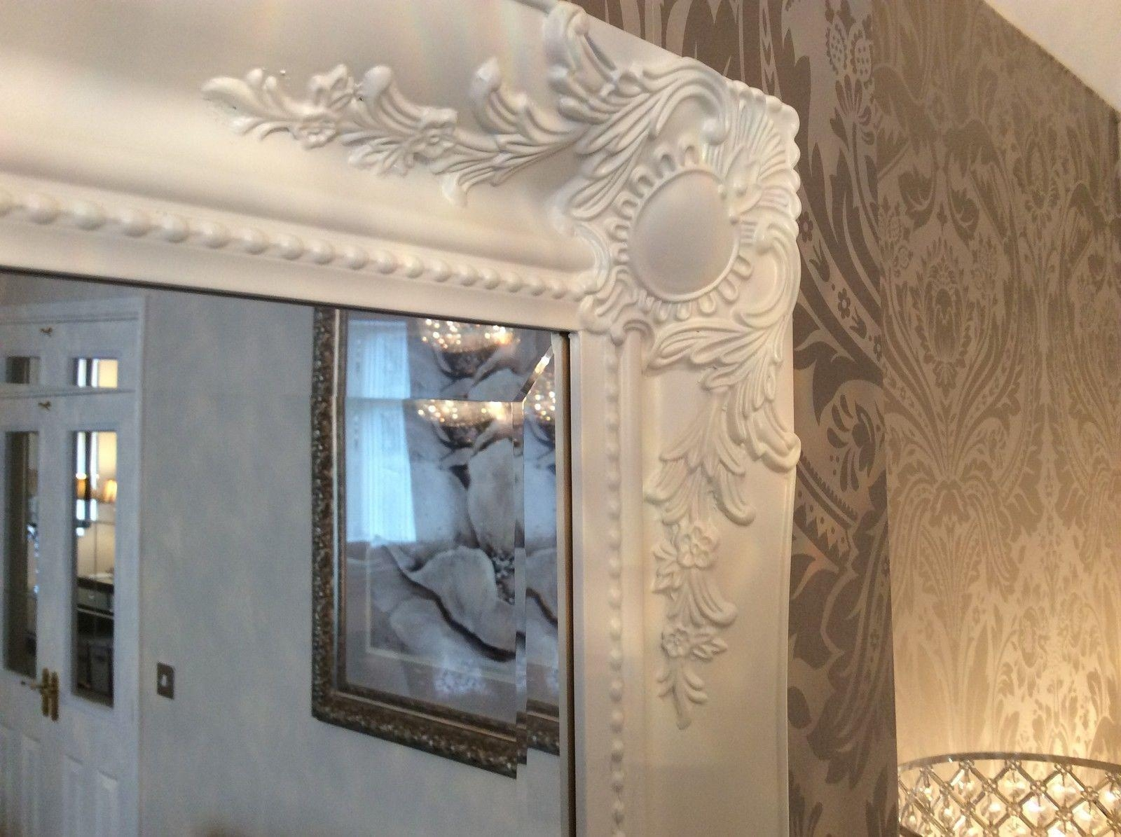 French White Shabby Chic Ornate Decorative Over Mantle Wall Mirror Regarding Large Shabby Chic Mirror White (Image 11 of 20)