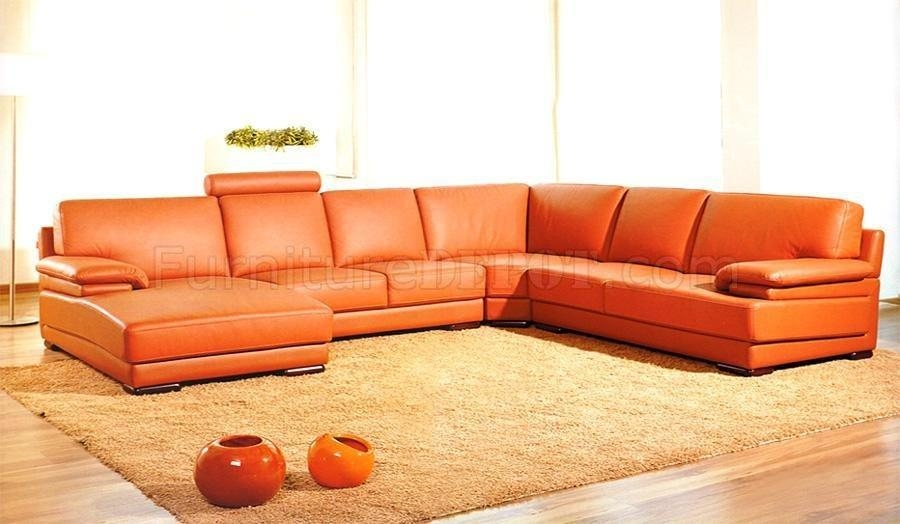 Full Italian Top Grain Leather Modern Sectional Sofa 2227 Orange For Orange Modern Sofas (Image 7 of 20)
