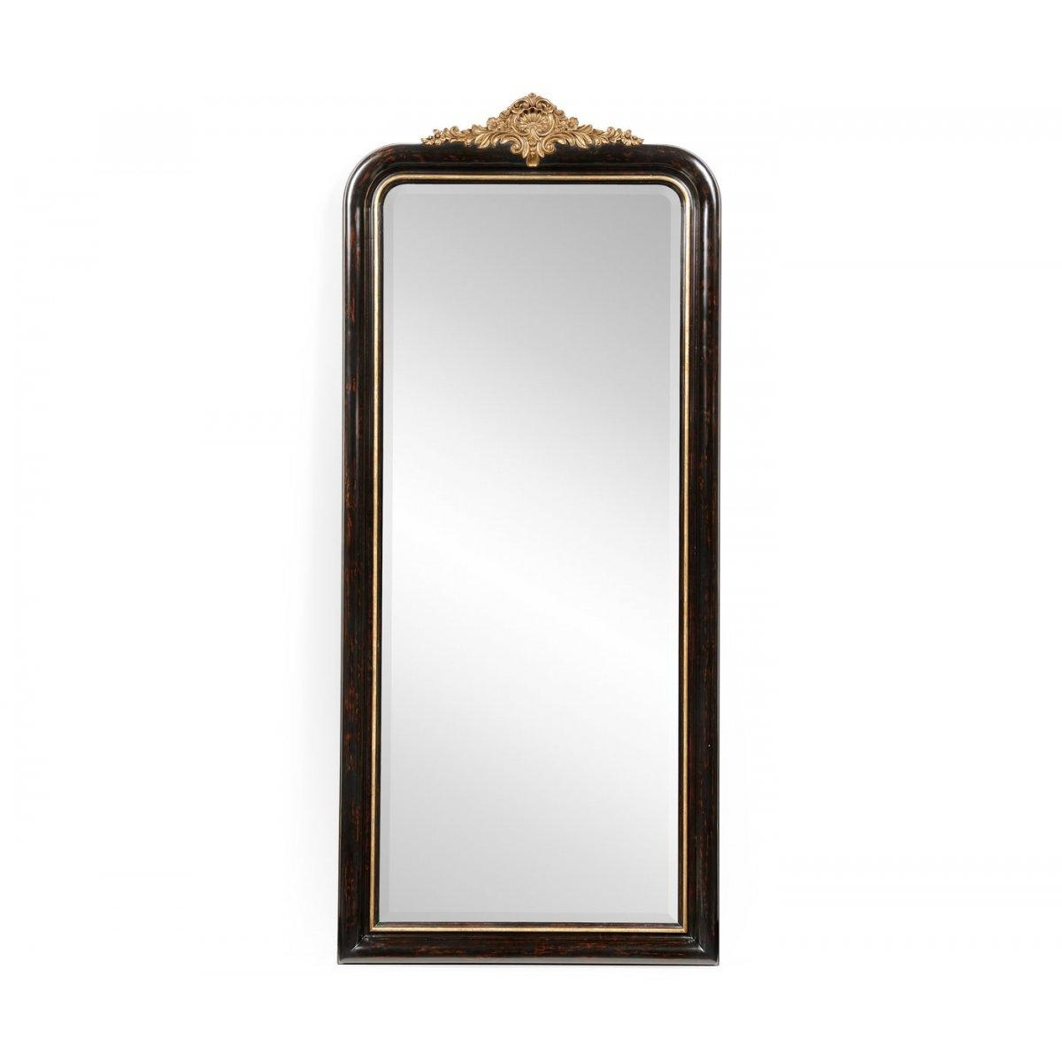 Full Length Black Mirror Gilded French Style | Swanky Interiors Throughout French Style Full Length Mirror (Image 11 of 20)