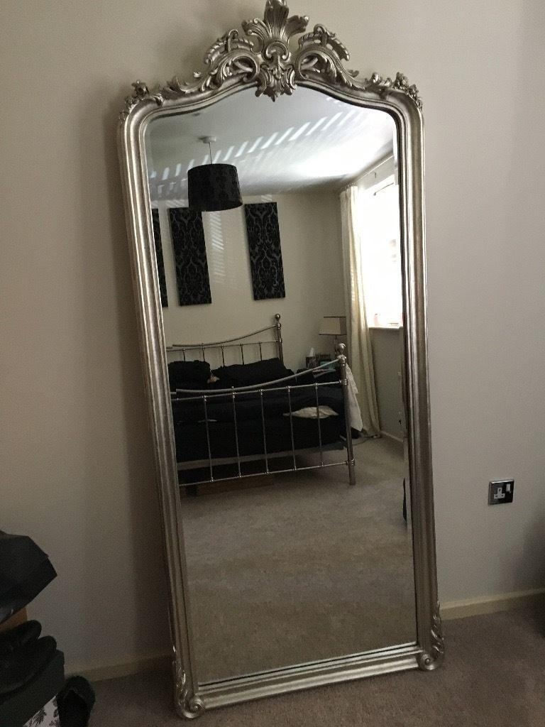 Full Length Patricia Laura Ashley Silver Floor Mirror For Sale For Silver Free Standing Mirror (Image 9 of 20)