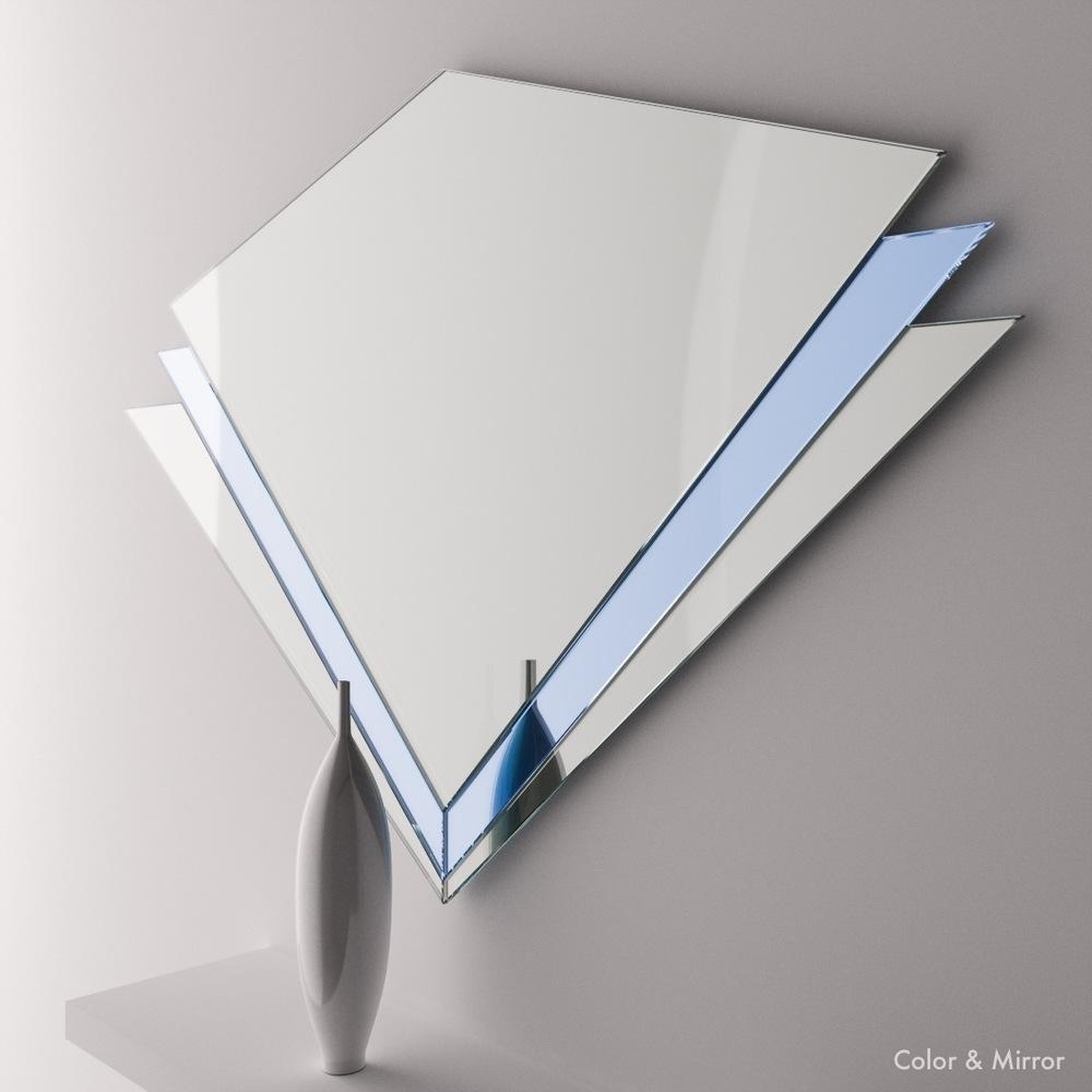 Full+View+Of+Blue+Angular+Art+Deco+Mirror Inside Artdeco Mirrors (Image 15 of 20)