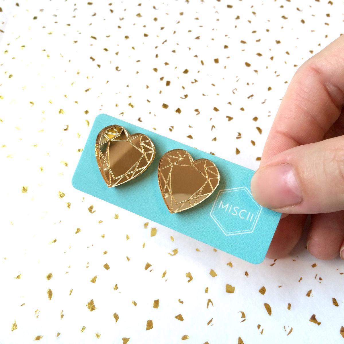 Fun Gold Mirror Gem Studs  Hearts – Miscii In Gold Heart Mirror (Image 8 of 20)
