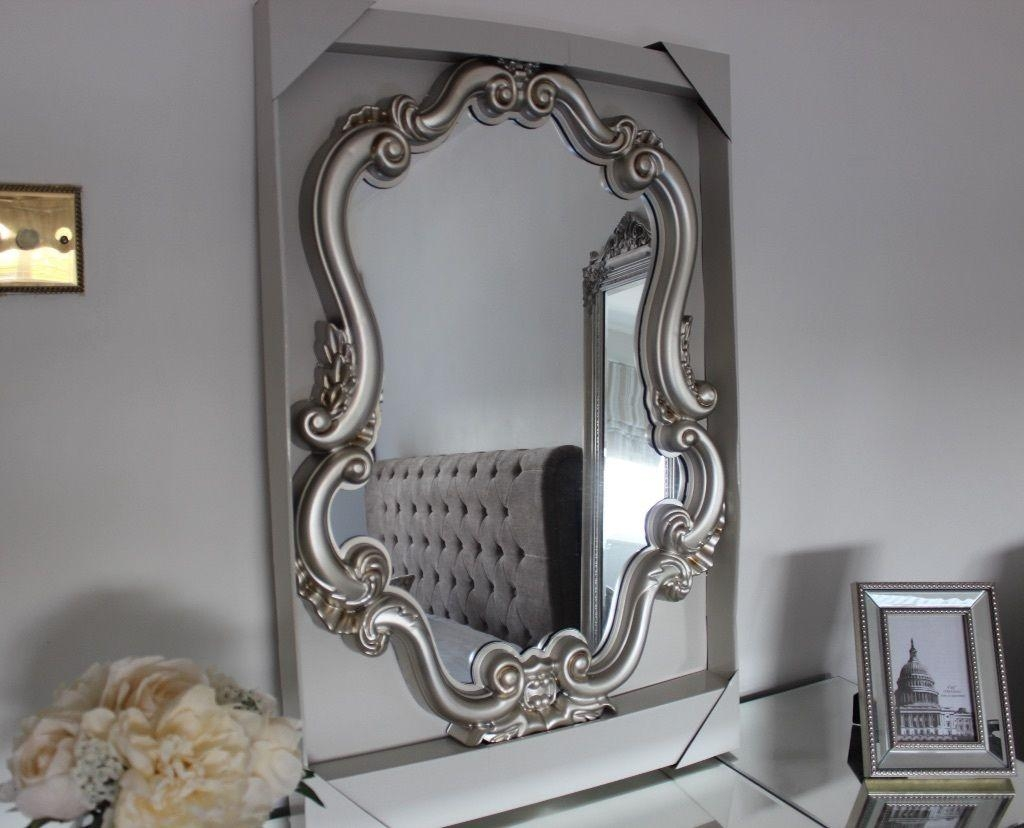 Furniture : Beautiful Silver Stainless Neo Baroque Vanity Mirror Regarding Baroque Mirror Silver (Image 13 of 20)