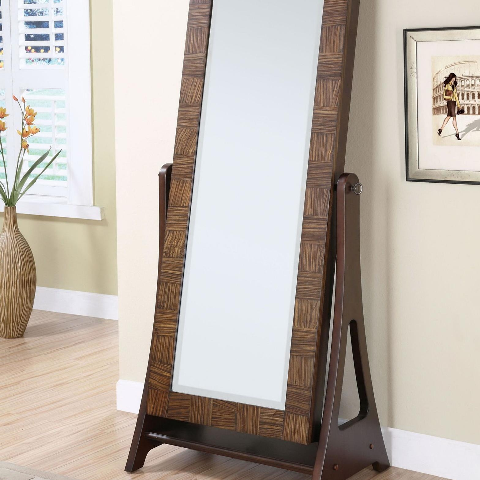Furniture: Black Jewelry Armoire Mirror On Wooden Floor And Cream In Cream Cheval Mirror (View 11 of 20)