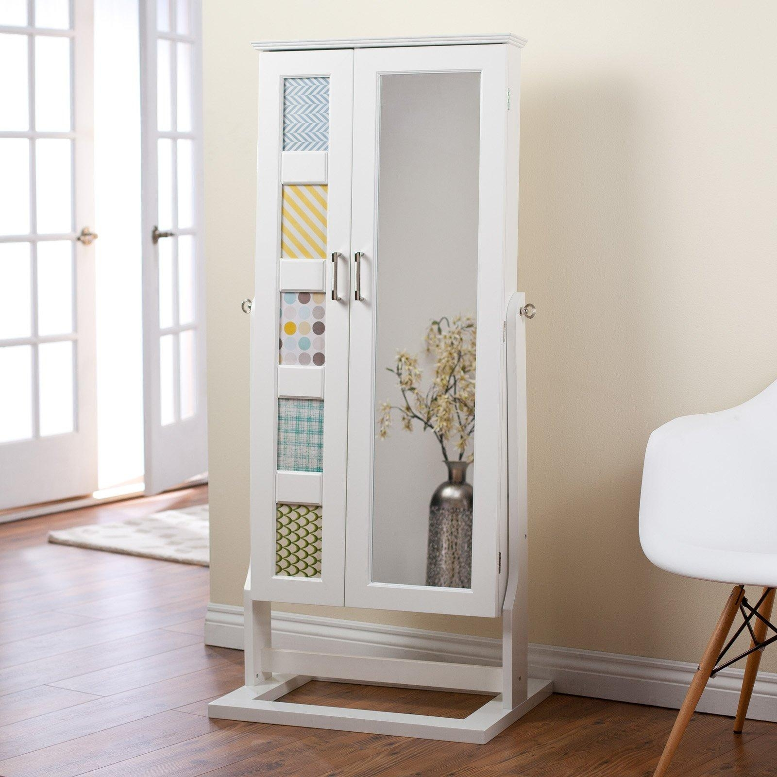 Furniture: Black Jewelry Armoire Mirror On Wooden Floor And Cream Inside Cream Floor Standing Mirror (Image 11 of 20)