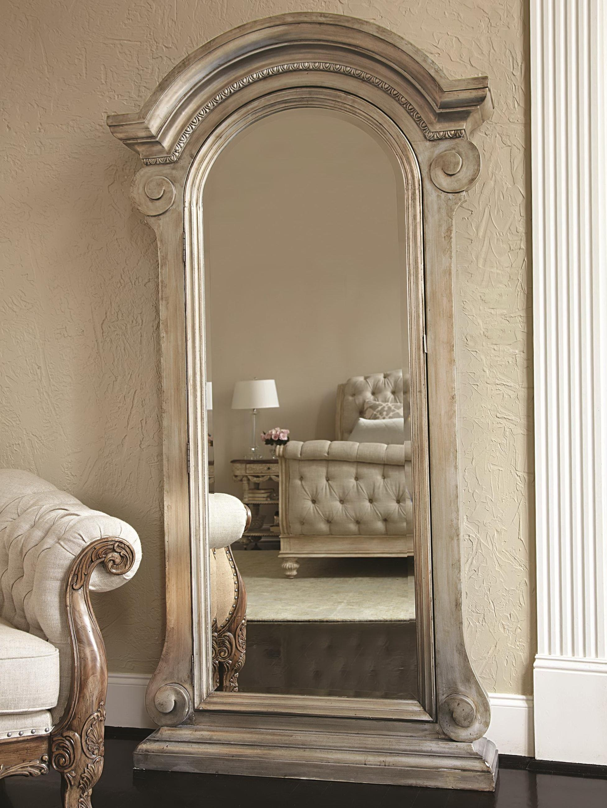 Furniture: Black Jewelry Armoire Mirror On Wooden Floor And Cream Intended For Antique Cream Wall Mirrors (View 5 of 20)