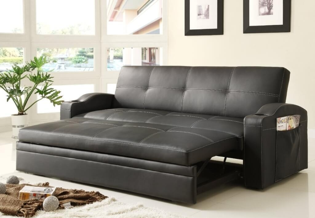 Furniture: Black Leather Sectional Convertible Sofa Bed In Black Leather Convertible Sofas (Image 10 of 20)