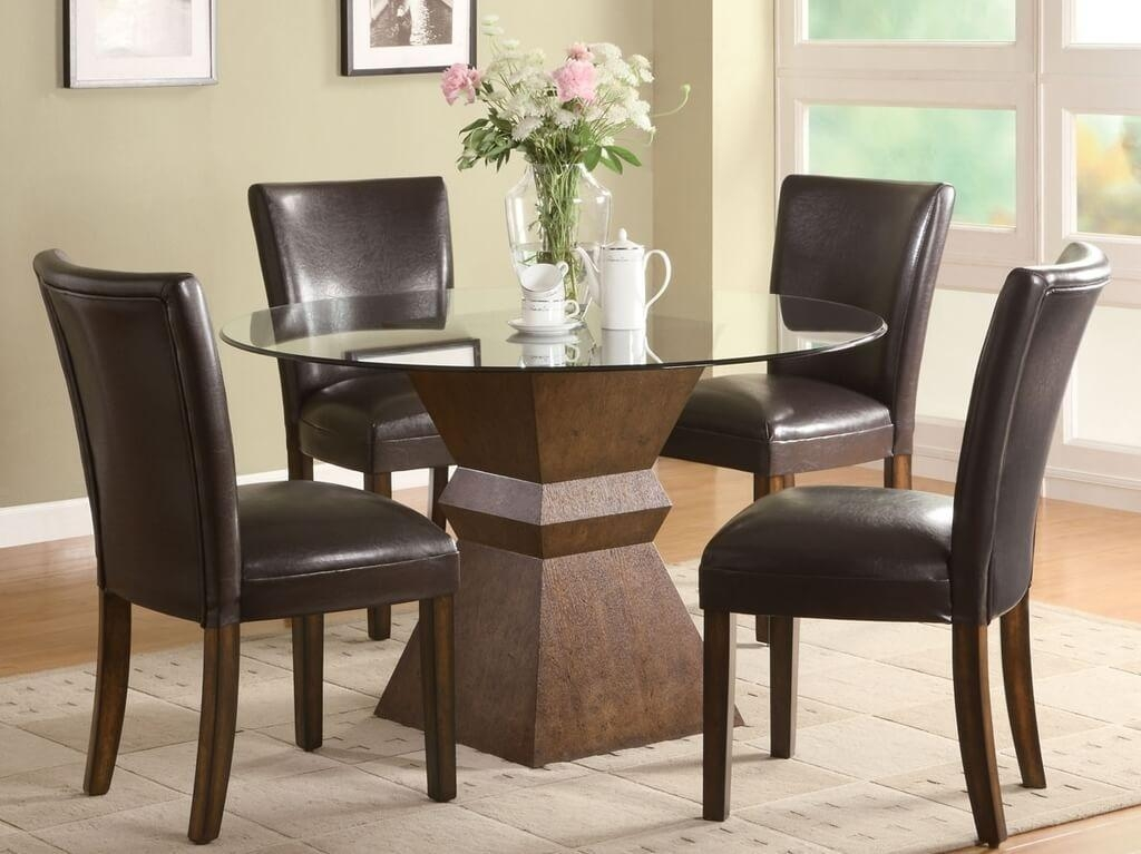 Furniture: Country Style Round Glass Dining Table And 4 Chocolate Intended For Cheap Glass Dining Tables And 6 Chairs (Image 11 of 20)