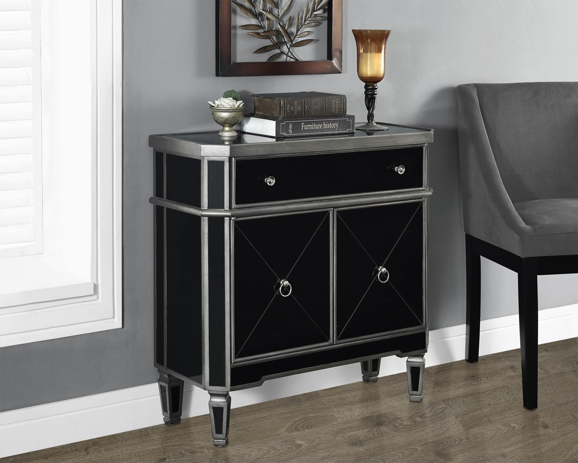Furniture: Elegant Mirrored Accent Table For Home Furniture Ideas With Black Mirrored Cabinet (Image 11 of 20)